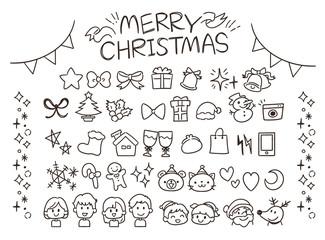 クリスマスのガーリーな手描き風アイコンセット(線)