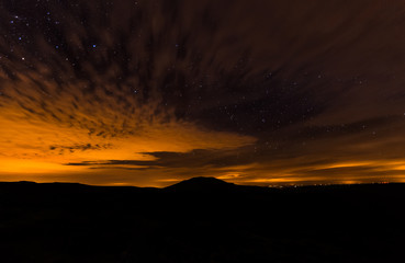 Nightshoot of sky from Spain, Teleno mountain in the background.