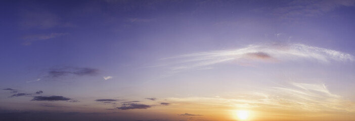Beautiful panorama of sunset with dramatic sky