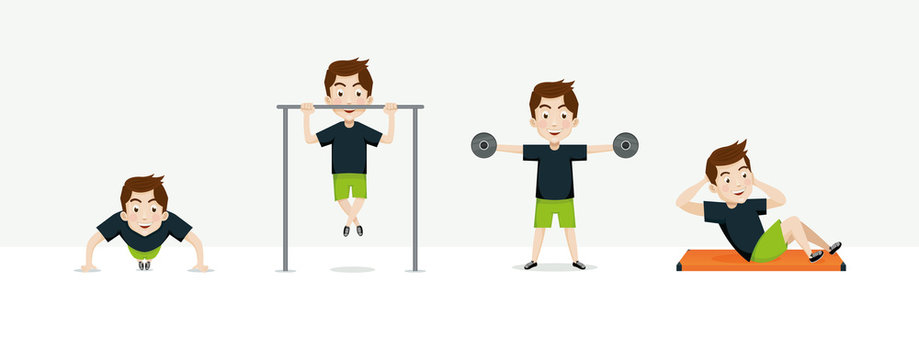 Man exercising vector set. Cartoon man doing pull ups, push ups and crunches. Fitness and Healthy lifestyle character.