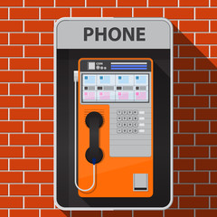 Payphone on brick wall vector flat design.