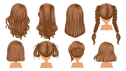 Brown hair Beautiful  hairstyle Brown Hair of woman. Rear view.  modern fashion for assortment. long hair, short hair, curly hair salon hairstyles and trendy haircut vector icon set