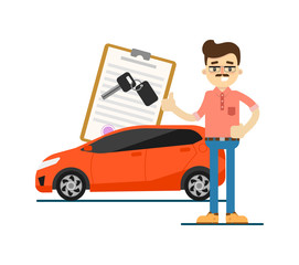 Rent car business concept with smiling dealer isolated on white background vector illustration. City renting car service in flat design.