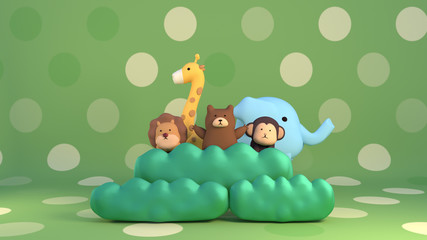 3d rendering picture of cartoon zoo animals. Lion, giraffe, bear, monkey and elephant.