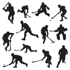 Hockey Field on Grass Athlete Silhouette Set