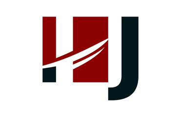 IJ Red Negative Space Square Swoosh Letter Logo