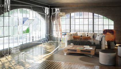 Postindustiral Loft Design (proposal)