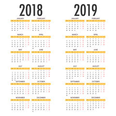 English calendar for years 2018 and 2019, week starts on Monday