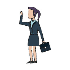 Colorful businesswoman doodle over white background vector illustration