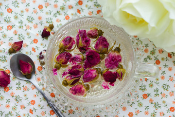 Rose tea in glass cup