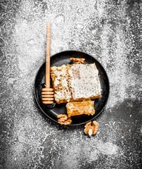 Wall Mural - Fresh honeycomb of walnuts.