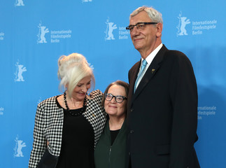 Actress Agnieszka Mandat, director Agnieszka Holland and actor Wiktor Zborowski pose during a photocall to promote the movie 'Spoor' at the 67th Berlinale International Film Festival in Berlin
