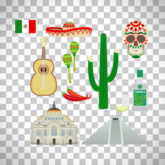 Mexico icons set on transparent background