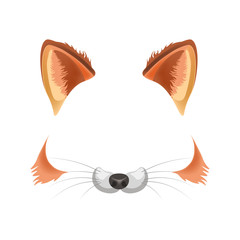 Fox animal face filter template video chat photo effect vector isolated icon