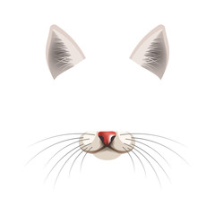 Cat animal face filter template video chat photo effect vector isolated icon