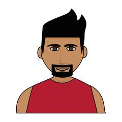happy handsome tan skin man wth beard icon image vector illustration design