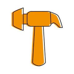 hammer tool icon image vector illustration design  orange color