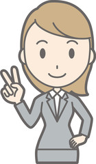 Illustration of a young woman wearing a suit signs a peace sign