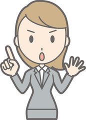 Illustration that a young woman wearing a suit points pointing at her finger