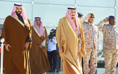Saudi King Salman and Saudi Deputy Crown Prince Mohammed bin Salman attend a graduation ceremony and air show marking the 50th anniversary of the founding of King Faisal Air College in Riyadh