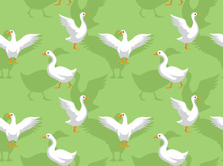 White Goose Cartoon Seamless Wallpaper