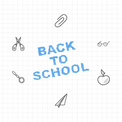 Back to school. Set of drawing vector elements with a sheet in a box for education. Vector illustration EPS 10