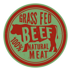 Beef stamp or label, text Grass Fed Beef,