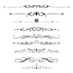 Set of decorative swirls elements, dividers, page decors. Hand drawn vector ornaments with arrow