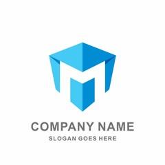 Monogram Letter M Geometric Square Cube Hexagon Architecture Construction Business Company Stock Vector Logo Design Template