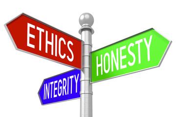 Ethics concept - colorful signpost