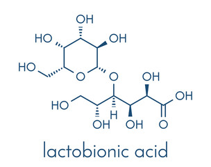 Lactobionic acid (lactobionate) molecule. Commonly used additive in food products, medicinal products and cosmetics. Skeletal formula.