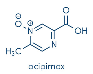 Acipimox hypertriglyceridemia drug molecule. Skeletal formula.