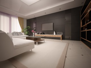Modern spacious living room with light comfortable sofas and stylish background.