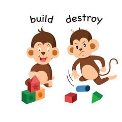Opposite build and destroy illustration