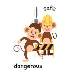 Opposite safe and dangerous illustration