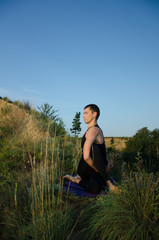 yoga on the nature: garmony and strength