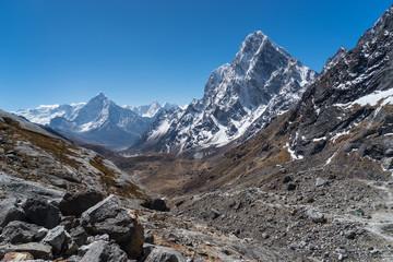 Ama Dablam and Cholatse mountain peak view from Chola pass, Everest region, Nepal