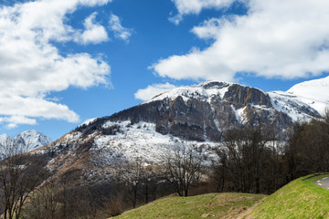 Mountain landscape in the French Pyrenees in spring