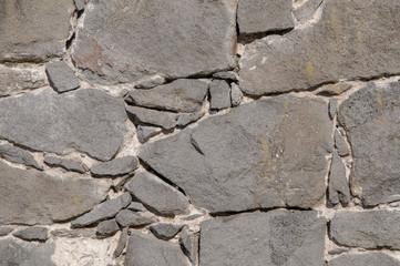 Wall masoned of basaltic rock