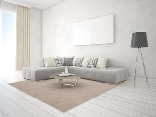 Mock up the living room with an exclusive corner sofa and fashionable background.