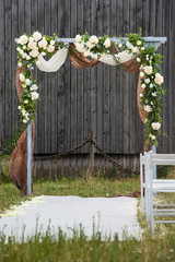 Rustic style wedding ceremony outdoor