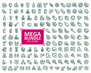 Big bundle, set of vector illustrations fine line icons fruits and vegetables, drinks, business people icons, concept of search of information, data. 32x32 pixel perfect