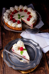 fresh and delicious raspberry cream pie