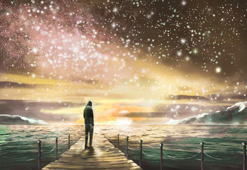 Fantastic illustration with MilkyWay, stars. Man is standing on pier on the sea and looking a space landscape. Painting.