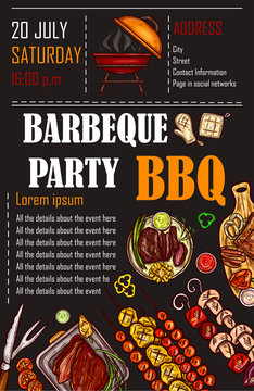 Vector illustration of a bbq menu template, invitation card on a barbecue, gift certificate, a picnic ticket on a black background
