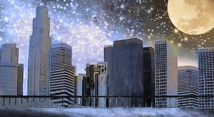 Fantasy illustration with Milky Way, stars. View of city space landscape. Painting New York. Skyscrapers, sky and moon