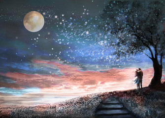 Fantasy illustration with night sky and MilkyWay, stars moon. woman and man under an tree looking at the space landscape. floral meadow and stairs.  Painting.