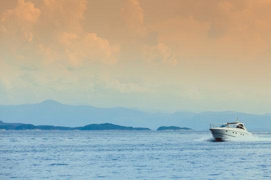 Beautiful seascape sea horizon and boat