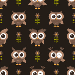 Seamless pattern with brown cute owls and flowers