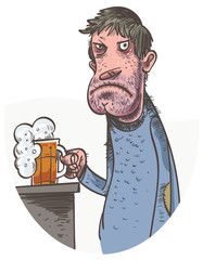 Unhappy Man Drinking Beer. Vector illustration